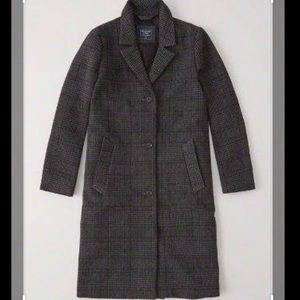 Dark grey plaid wool coat